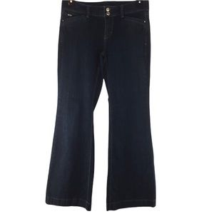 WHBM black flare jeans with button pockets